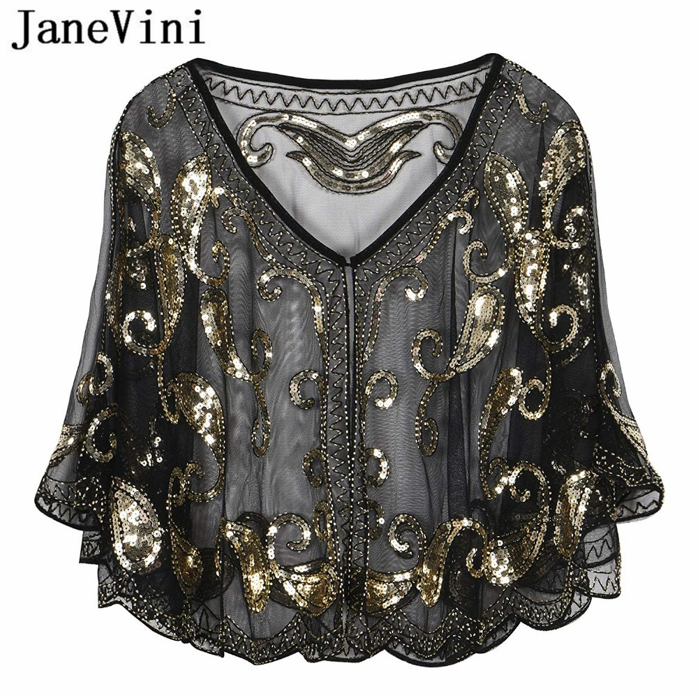 JaneVini Sparkling Sequined Black Gold Bridal Shawl Wrap Bolero V Neck Short Stoles Women Wedding Cape Cloak Wedding Accessories