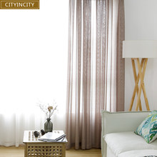 CITYINCITY Solid Curtains for Living room six colors modern Curtain for kitchen soft tulle sheer for bedroom Customized(China)