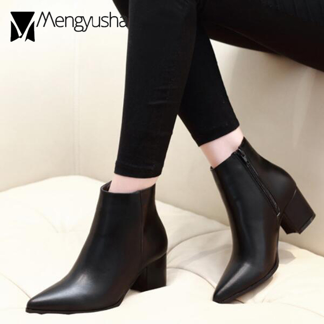0b47f1554c40 Solid Leather Boots Woman Zipper Martin Boots Winter Short Ankle Booties  Pointed Toe Thick High Heels Chelsea Botas Snow Shoes