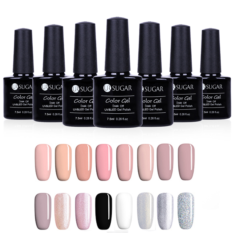 UR SUGAR Gel Nail Polish Soak Off Nail Polish UV Gel Lacquer Pure Color Nail Art Manicure Gel Varnish DIY Tools