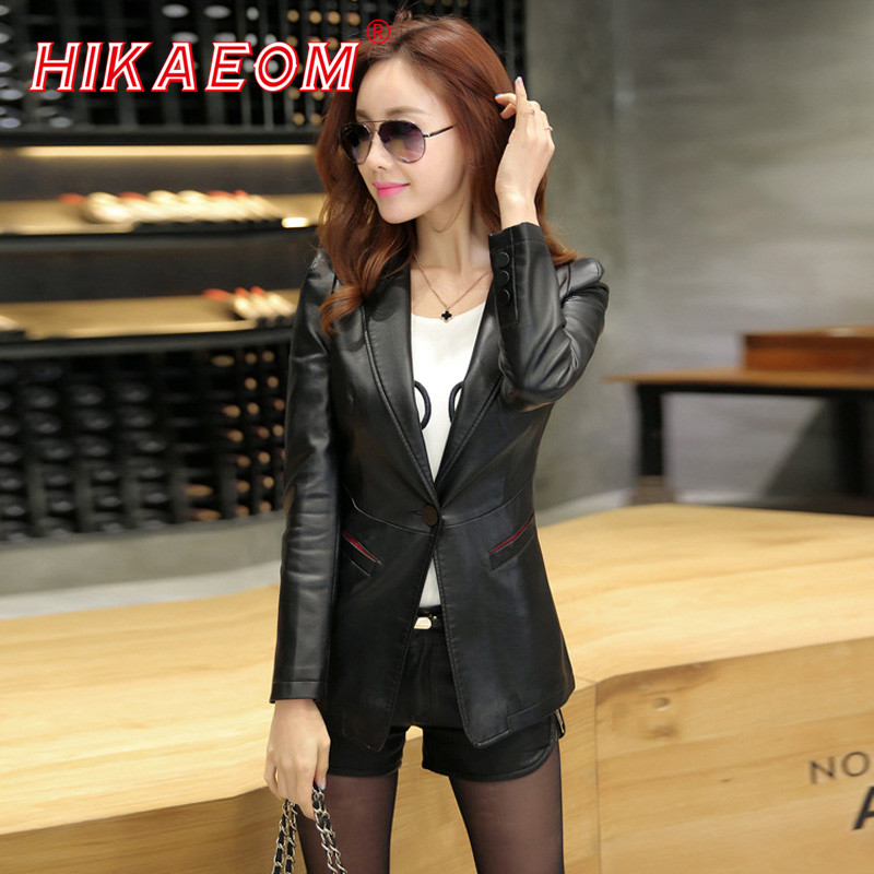 Leather   Jackets For Women   Suede   Blazer Biker Ladies Patchork Synthetic Turn-down Collar Brand Factory Direct Faux   Leather   Jacket