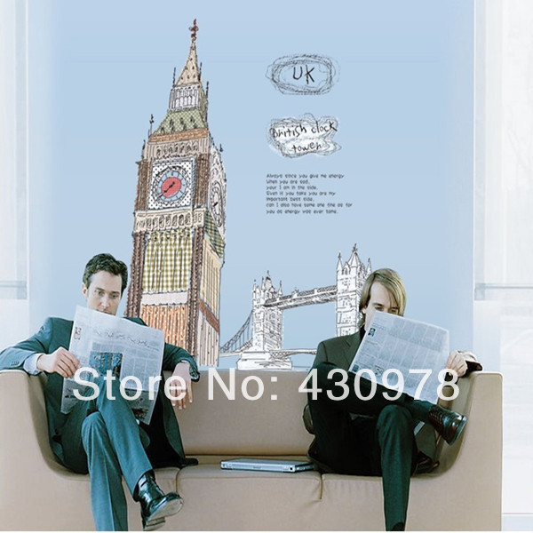 QZ733 Free Shipping 1 Pcs England Big Ben UK London bridge sketch <font><b>Elegant</b></font> Removable Wall Stickers Fancy <font><b>Home</b></font> <font><b>Decoration</b></font>