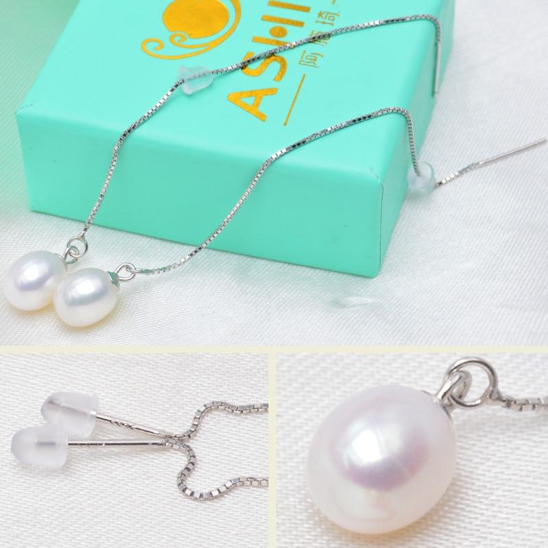 ASHIQI 925 sterling zilveren lange oorbellen voor dames 7-8 mm - Fijne sieraden - Foto 4
