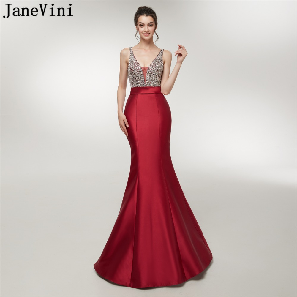 JaneVini Luxury Prom Dress Beaded Sequined Satin V Neck Burgundy Sexy Mermaid Formal Party Gowns Bridesmaid Dresses Floor Length