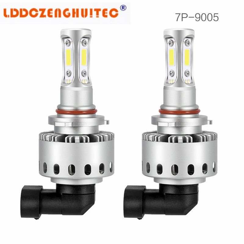 LDDCZENGHUITEC 7P H4 H7 H11 1Pair LED Car Headlight COB Chips H1 9005 9006 50W Car Styling Auto Led Bulb 12-24V DC 6000LM IP65