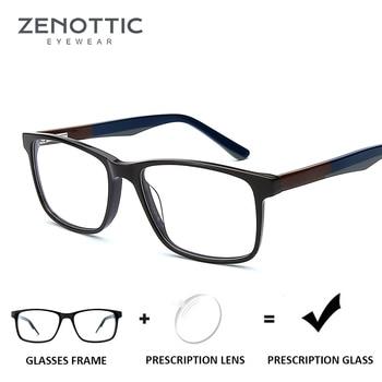 ZENOTTIC Square Acetate Prescription Glasses for Men Clear Anti-Blue-Ray Myopia Eyeglasses Optical Hyperopia Photochromic 2019