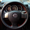 Hand-stitched Black Leather Steering Wheel Cover for Old Nissan Tiida Livina Sylphy Note