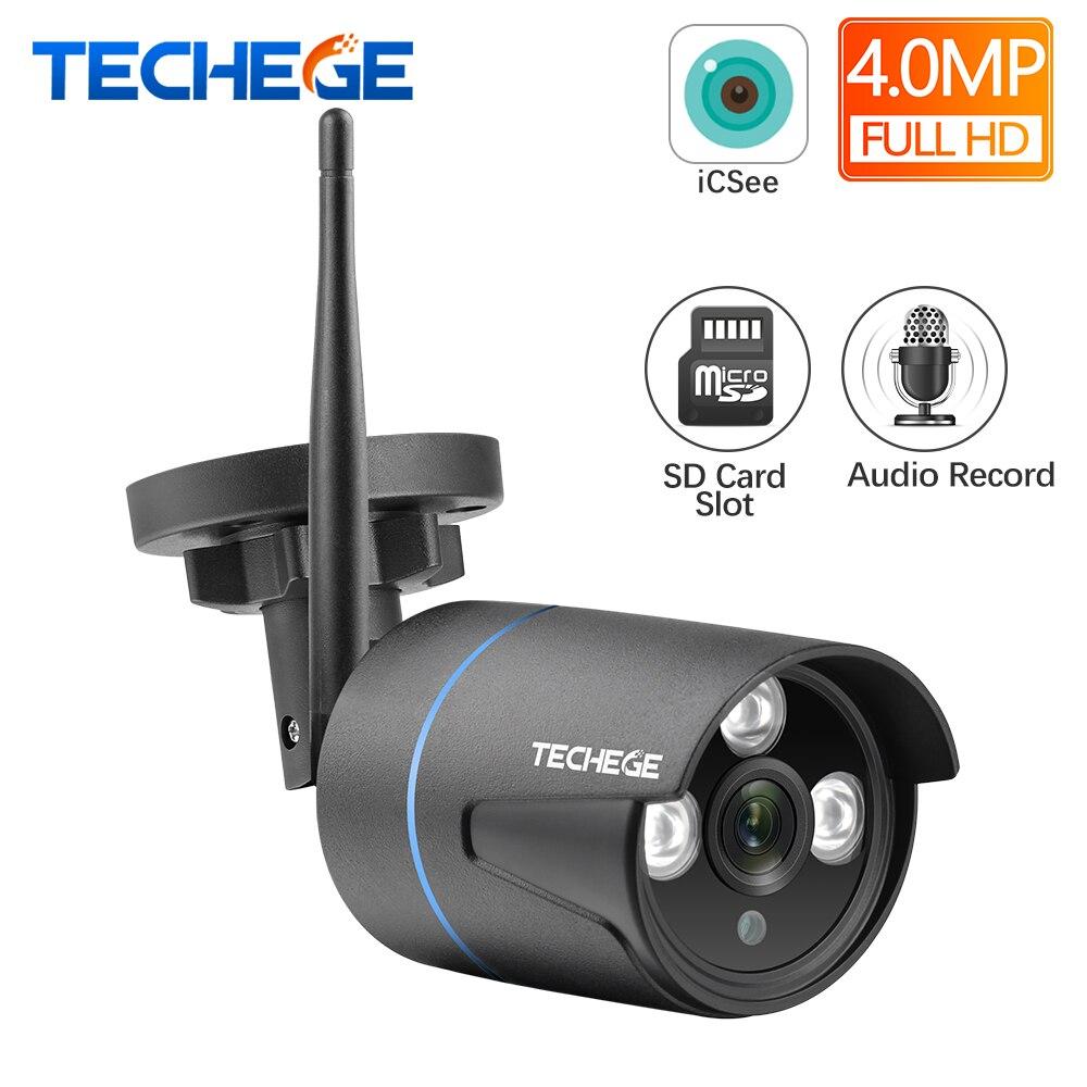 Techege 4MP WiFi caméra IP filaire réseau HD caméra WiFi enregistrement Audio étanche caméra Nignt Vision IP adaptateur secteur gratuit iCsee