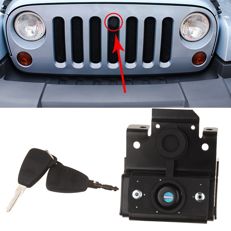 JK Accessories Replacement Parts Front Engine Compartment Hood Cover Anti Theft Grille Lock With Key For
