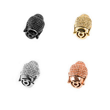 NEW Supplies Jewelry Gold/Silver Micro Pave Good Cubic Zirconia Brass Metal Small Spacer Buddha head Beads DIY Jewellery(China)