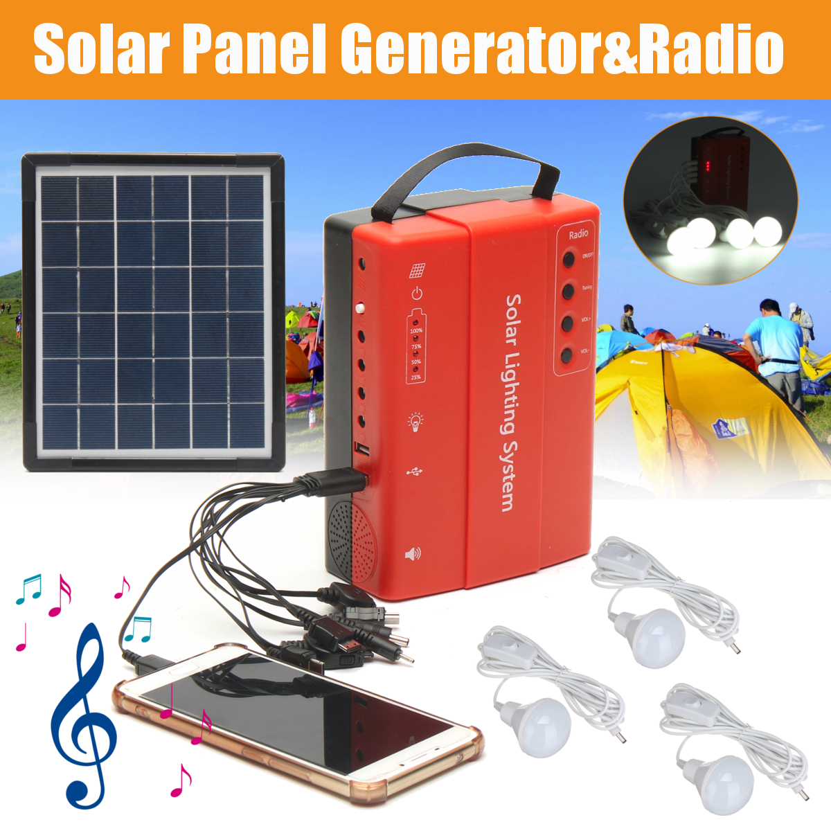 Solar Panel Power Storage Generator System LED Light USB Charger Portable Home Outdoor LED Lighting System Support FM Radio icoco 3 in 1 emergency charger flashlight hand crank generator wind up solar dynamo powered fm am radio charger led flashlight