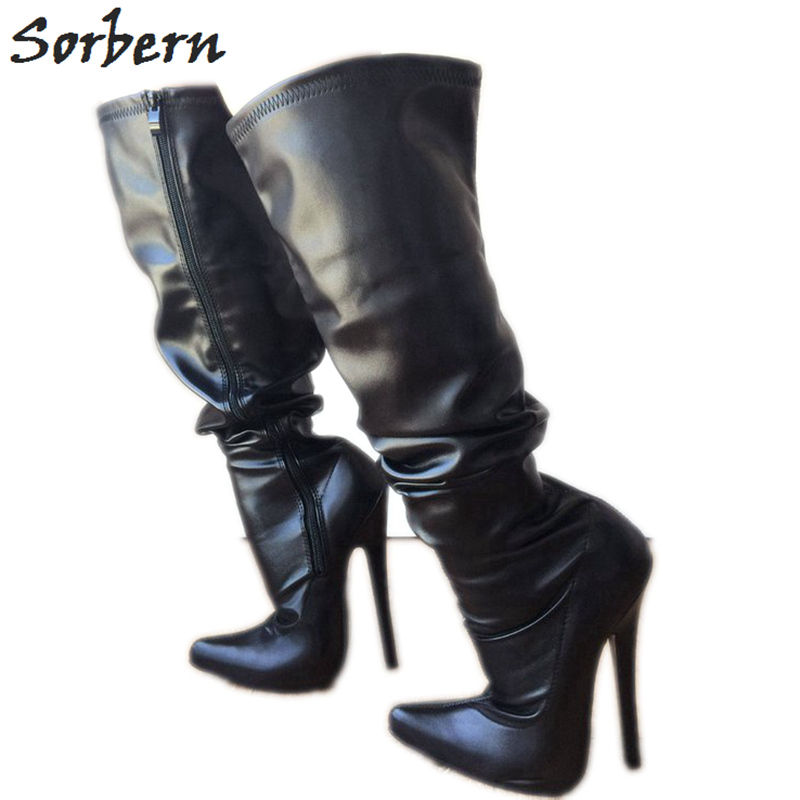 Sorbern 18Cm Stiletto Over The Knee Boots Women Custom Med Thigh High Boots For Plus Size Women Autumn Size 11 Women Shoes