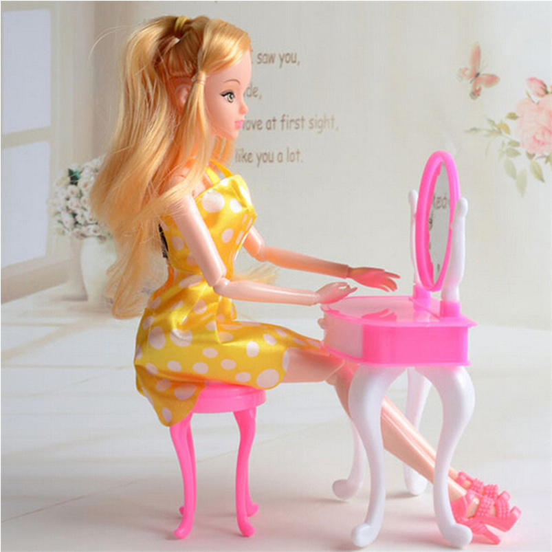 Doll Furniture Doll Accessories For Doll Furniture Dresser Dressing Table Make-Up Mirror Chair Set Bedroom Dollhouse Girls Toys