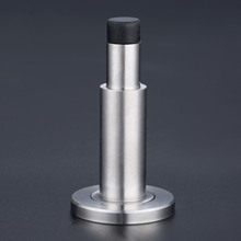 Adjustable Door Stopper Wall Mount Retractable Rubber Mute Stainless Steel Anti Collision