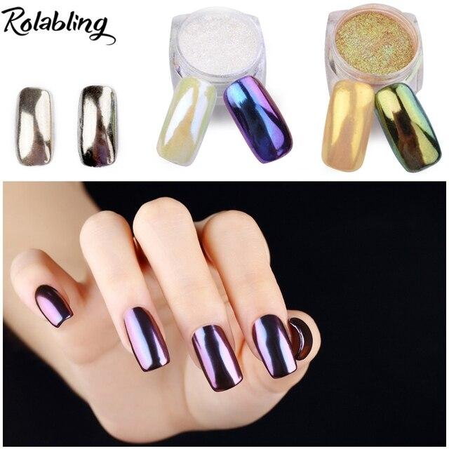 New Arrival 1pot Mirror Nails Glitter Powder Set Shinning Gold Sliver Uv Gel Chrome Nail