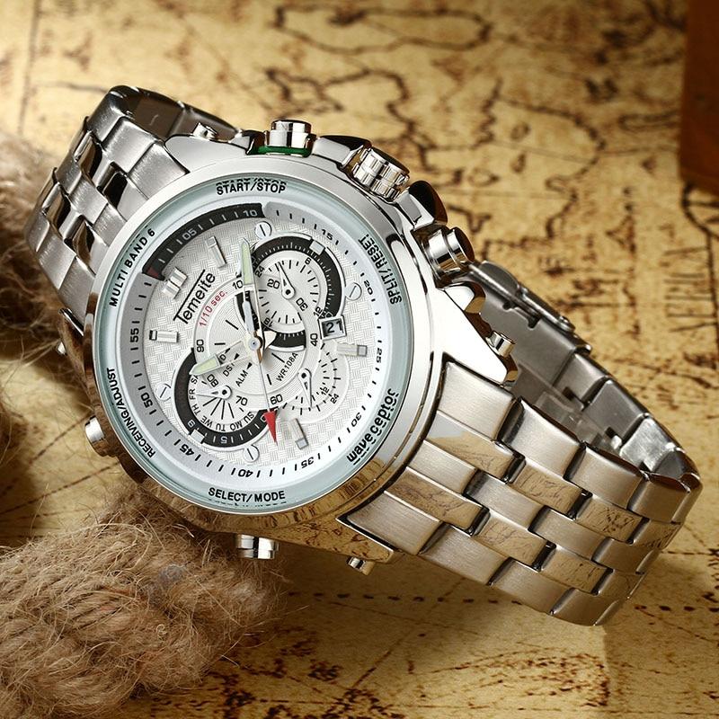 2019 Fashion Business Men Quartz Wristwatches Top Brand Luxury TEMEITE Calendar Clock Luminous Hands Waterproof Full Steel Watch