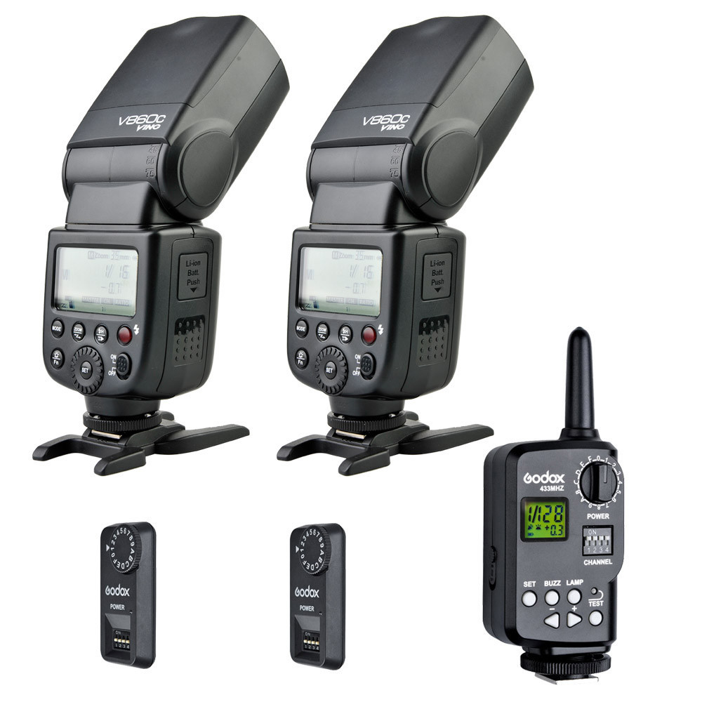2x Godox VING V860C Li-ion E-TTL Flash Speedlite + FT-16S Trigger KIT For Canon Camera 580ex ii  as Yong Nuo speedlite godox v860n new li ion battery flash speedlite ft 16s flash trigger set cells ii wireless transceiver trigger for nikon
