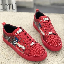 LTTL New Arrival Spikes Lace-up Shoes Men Glitter Sneakers Top Fashion Skull Print Low-cut Sneaker Mens Shoes Casual Flats lttl mens loafer luxury rivets rhinestone party wedding shoes runway style outdoor shoes low top flats fashion shoes men