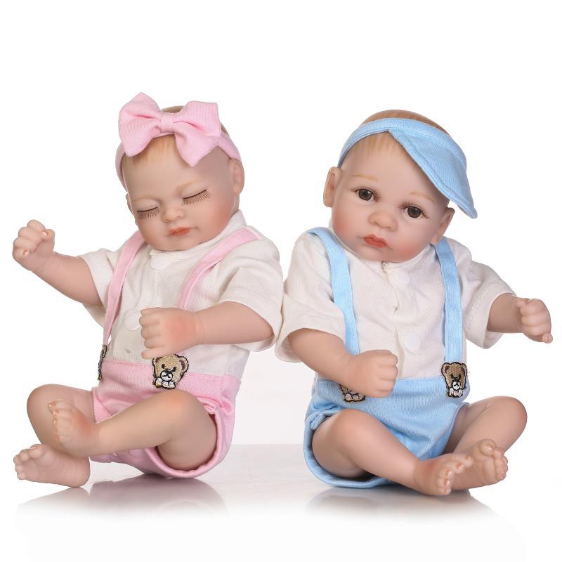 11inch Baby Reborn Dolls Soft Cloth Vinyl Silicone Handmade Babies Toys+Clothes