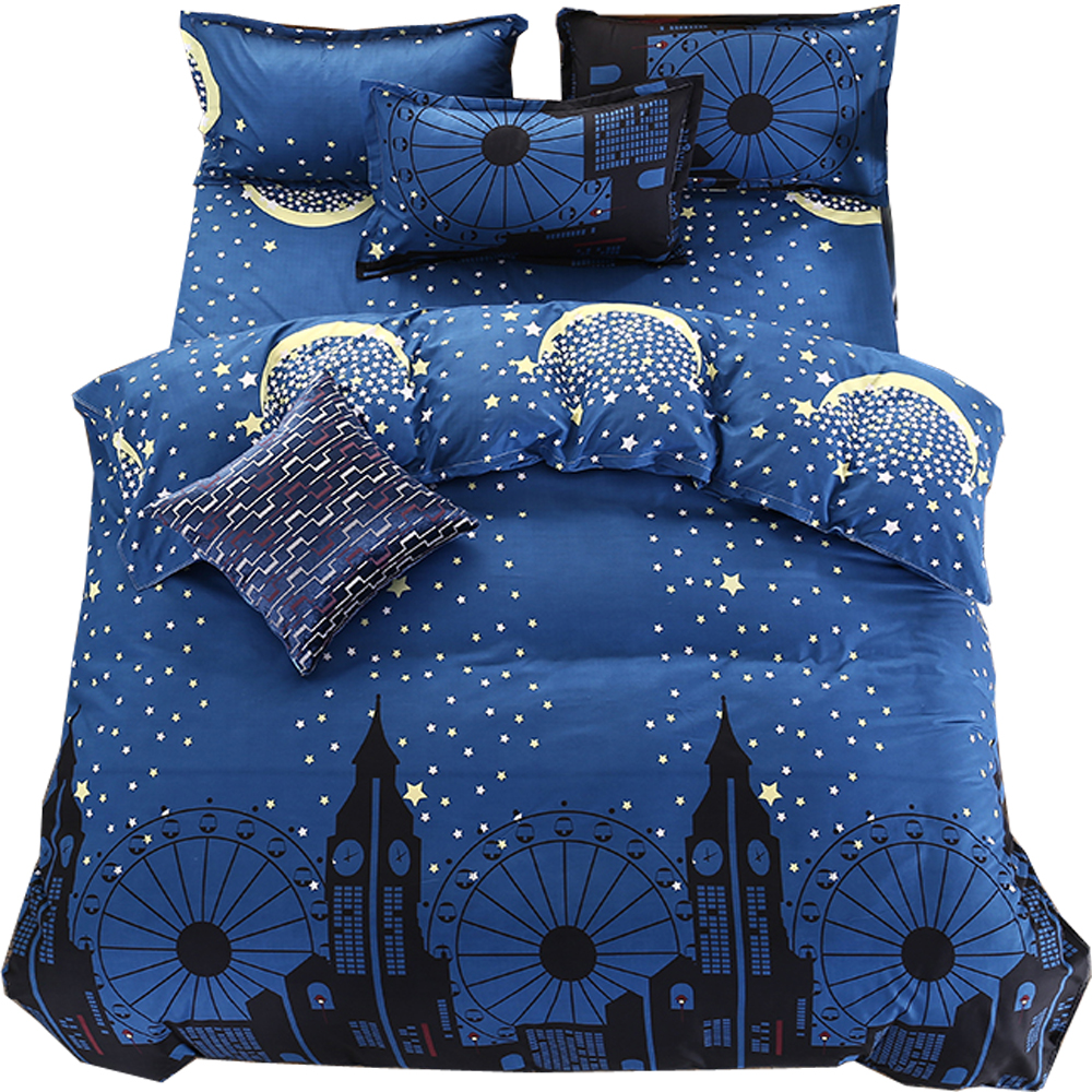 Home Textile Simple Style Blue White Stripes 3/4pcs Bedding Sets Soft Bedlinens 100% Polyester Fiber Twin/double/queen Duvet Cover Flat Sheet