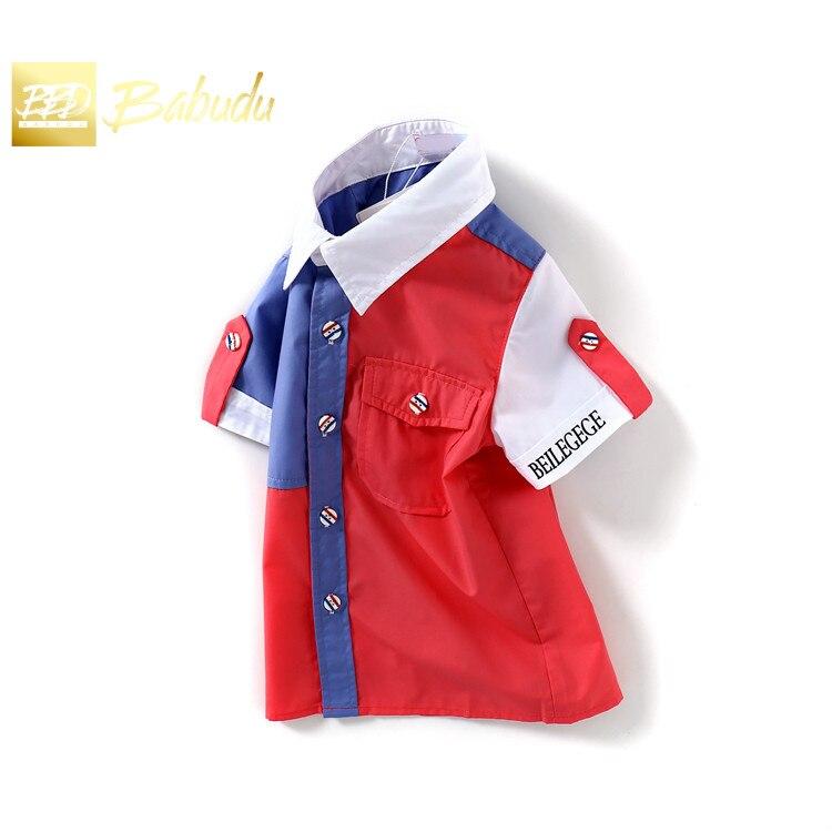 Alta qualidade nova camisa de manga curta de verão, 7-8y menino lapela colorblock casual topos.