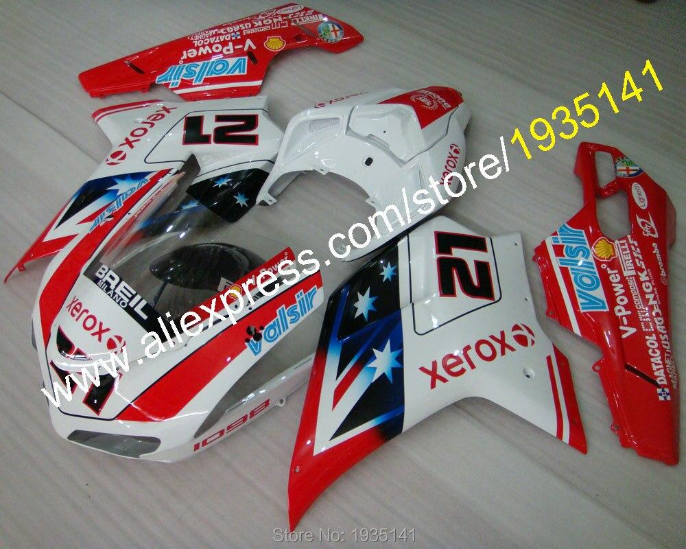 Горячие продаж,новое поступление 21 Обтекателя для Ducati 848 1098 07 08 09 10 11 Год 1098S 1198 спортбайк звезда Обтекателя (литье под давлением)