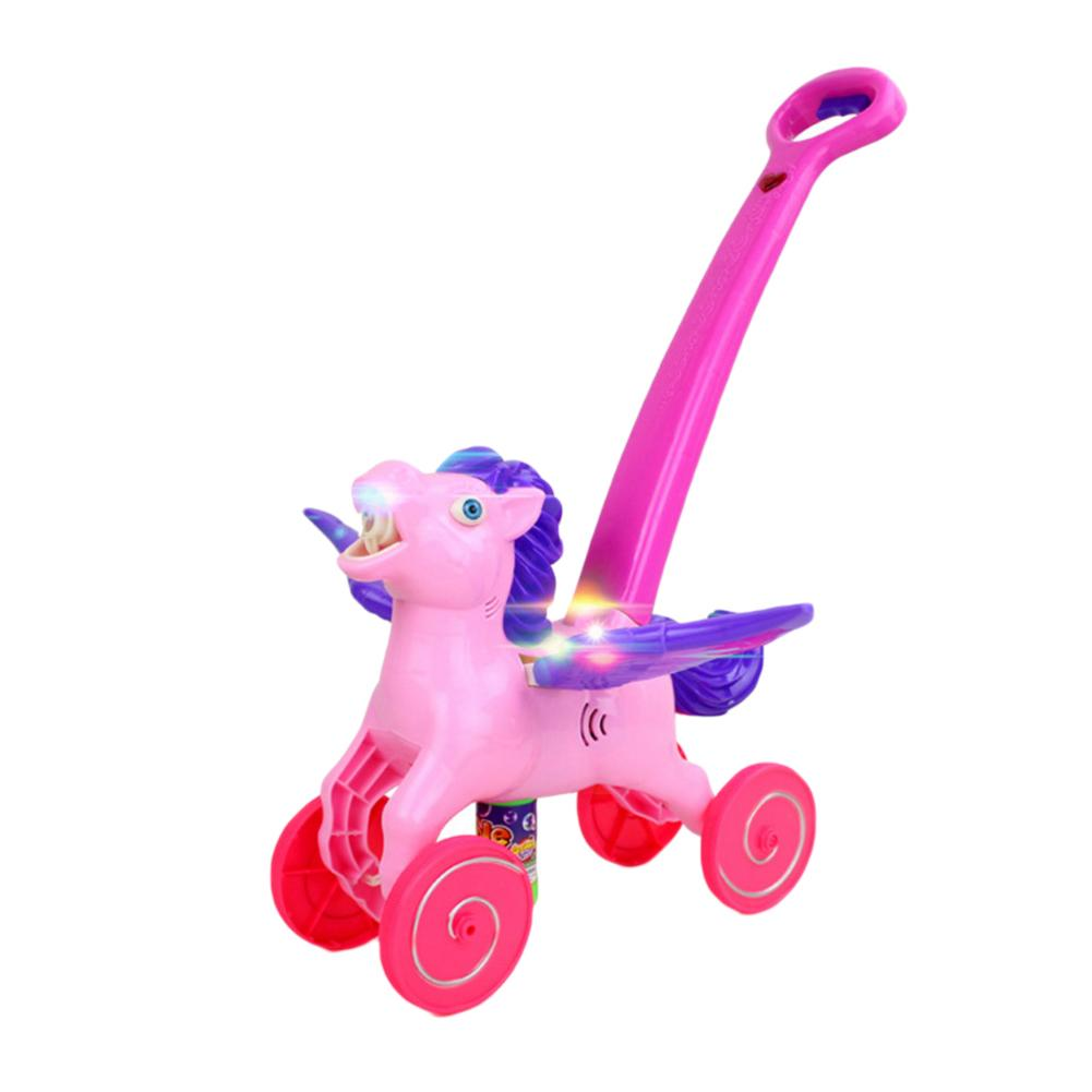 Horse Bubble Maker Blower Machine Music Walking Assistant Cart Toddler Baby Toy