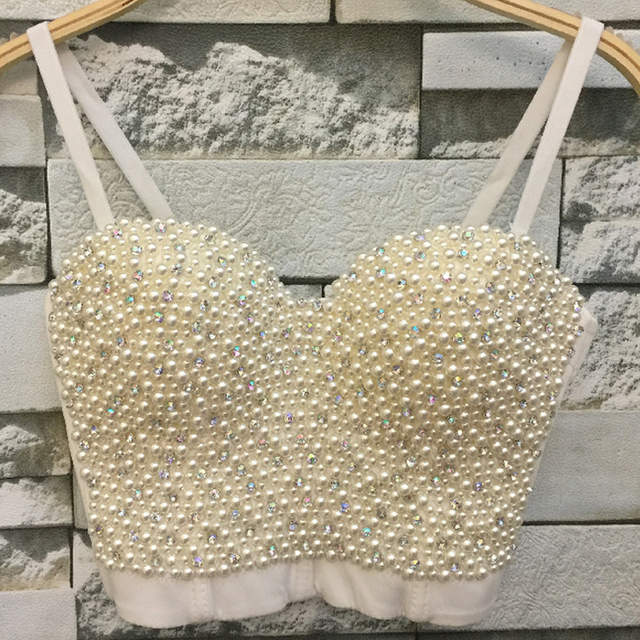 59ebbfdb28 placeholder Hand-made Pearl White Beads Bustier Top For Women Jewel Diamond  Bralette Top Nightclub Clothing