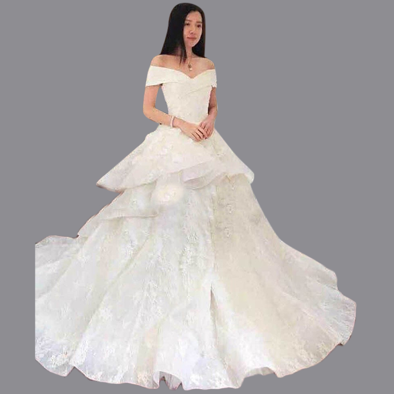 Aliexpress Buy Puffy V Neck Turkey Vestido De Novias Court Train Tiered Bottom Lace Appliqued Tailor Wedding Dress With Flowers MC145 From Reliable