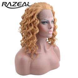 Razeal химическое Синтетические волосы на кружеве парики средней длины глубокая волна парик волос 3 расчески внутри регулируемый высокой