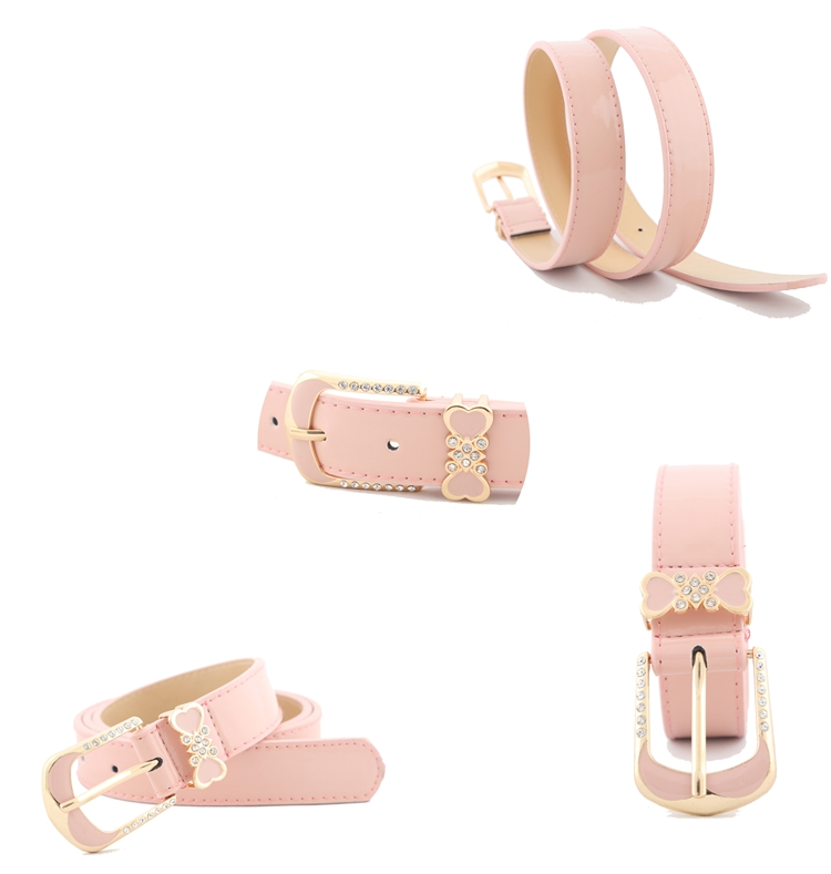 2524cbf7ce Glossy PU women bow belt rhinestone fashion needle buckle heart shaped  decorated for girl lady 105cm length solid color S498