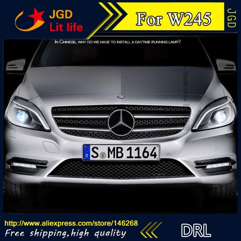 Free shipping ! 12V 6000k LED DRL Daytime running light for Benz W245 B150 B170 B180 B200 2009 2010 fog lamp frame Fog light