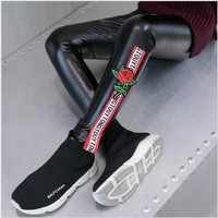 2017 Autumn And Winter Girls Leggings Warm Fleece PU Leather Girls Pants Kids Woven Tape Roses