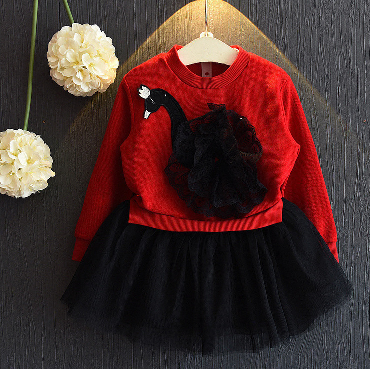 Little Girls Skirt Lace Floral Clothing Set Baby Kids Girl Long Sleeve Swan Tulle Skirts Outfits Costume 3-7T Clothes 2017 summer new children baby girl clothing denim set outfits short sleeve t shirt overalls skirt 2pcs set clothes baby girls