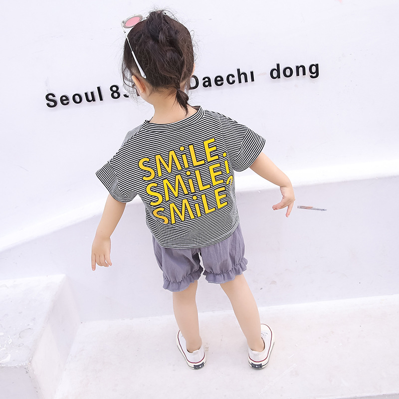 Children Girls Casual Clothes Set Summer Striped Letter Print Flare Sleeve T shirt Shorts Suits 2Pcs Costume Set 2019 in Clothing Sets from Mother Kids