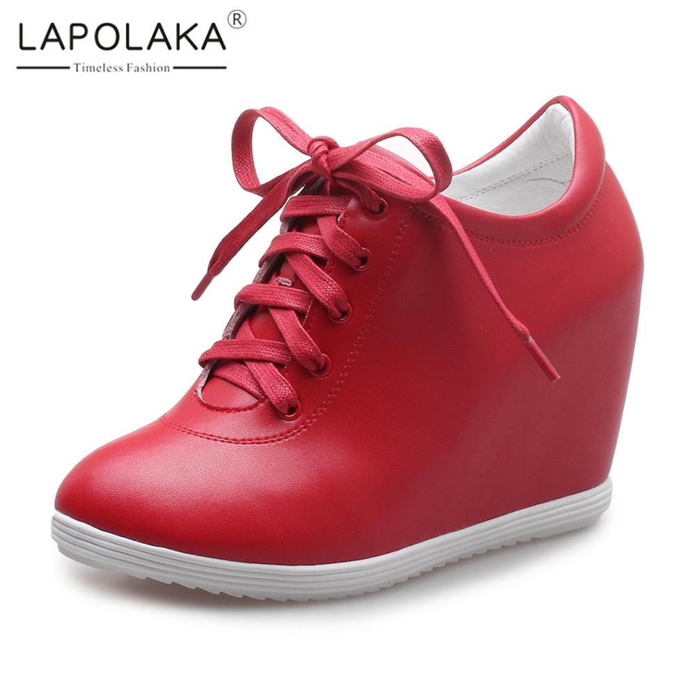 LAPOLAKA Brand new dropship all'ingrosso della mucca di cuoio della scarpa da tennis scarpe da donna nero rosso vendita calda crescente tacchi Vulcanize scarpe donna