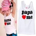 2 unids ropa de bebé niños niño niña camiseta del chaleco del verano mamá / papá Me ama