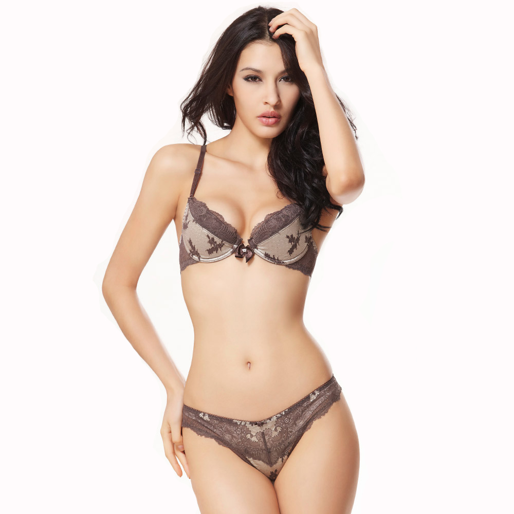 Open Cup Lace Bra Set Push Up Sexy Underwear Women France -6885