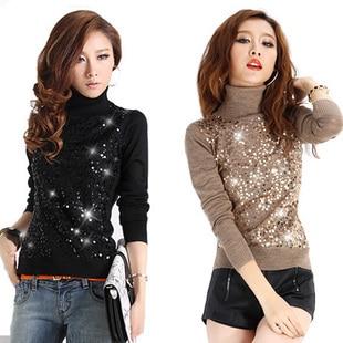 2016 Rushed Limited Formal Regular Full Wool Tricotado Pullovers Design Slim Turtleneck Paillette Sweater Womens Basic Pullover