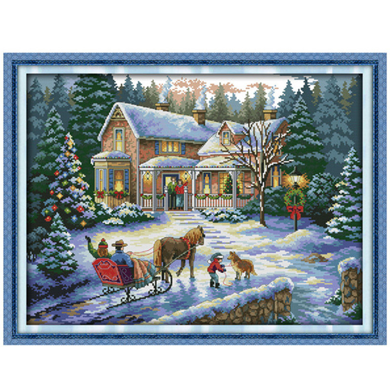 Everlasting love Return from Chinese cross stitch kits Ecological cotton stamped 11 14CT DIY gift new year decorations for home