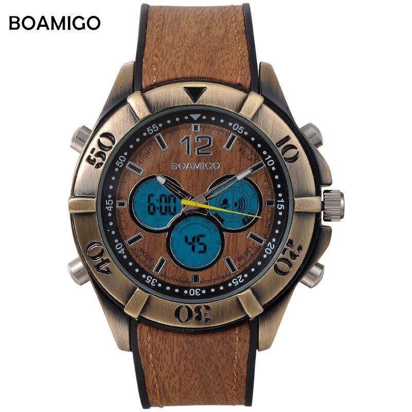 Vigilanza degli uomini di Sport BOAMIGO Analogico Digitale Al Quarzo LED Orologio In Legno Disegno Elastico Marrone Retro Vintage Punk Orologi Reloj Hombre