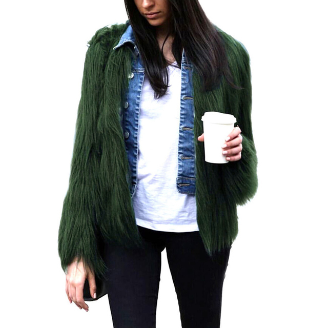 cd813c5426b22 Plus Size Womens Faux Fur Coats Jackets Black White Fluffy Fake Fur Coats  Women Winter Warm Coat Female Outerwear Cardigan Coat