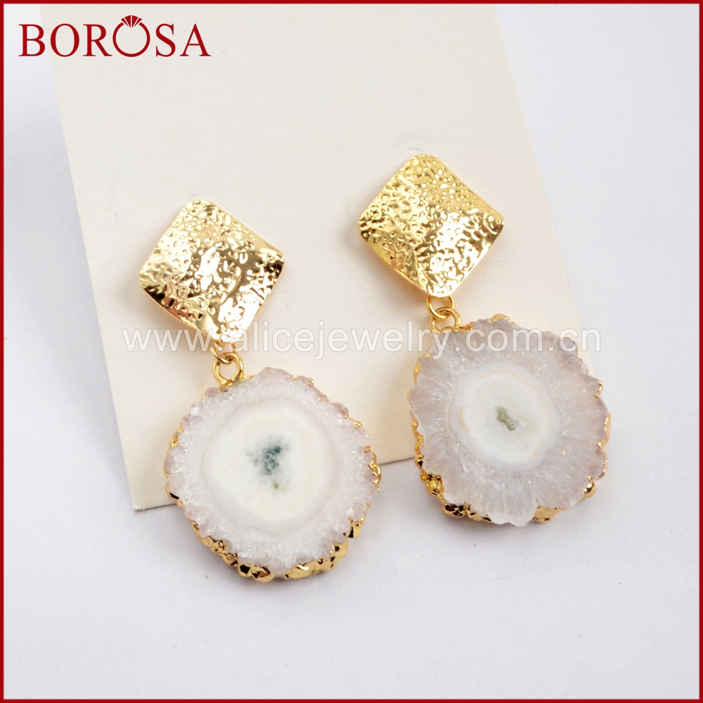 BOROSA 5Pairs Natural Sun Flower Stone Charm Earrings Jewelry, Gold Color White Solar Quzrtz Rombic Drop Earring for Women G1594