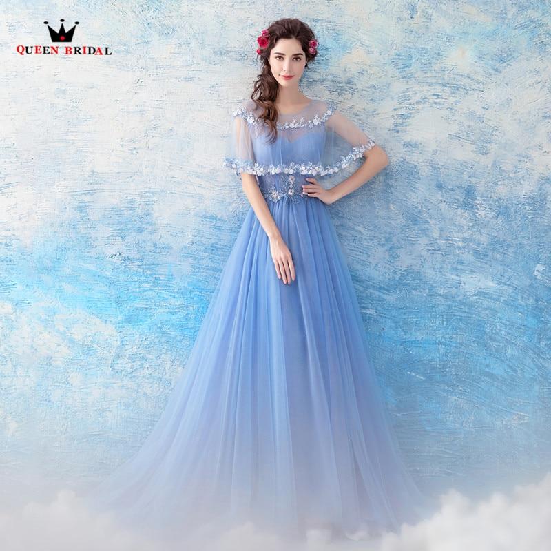 Rainha nupcial 2020 novos vestidos de noite a linha tule rendas flores azul formal elegante baile de formatura vestido de festa feminino ls08 - 4