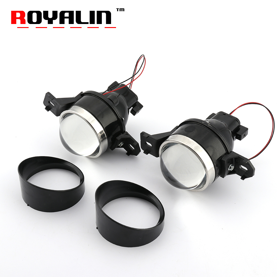 ROYALIN For Nissan Fog Lights Lens Car G2 Bi-xenon H11 D2S Projector 3.0 Full Metal Halogen Fog Lamp High and Low Beam Retrofit fog light lens for toyota 2 5 full metal bi xenon projector lens with xenon kit auto h11 fog light