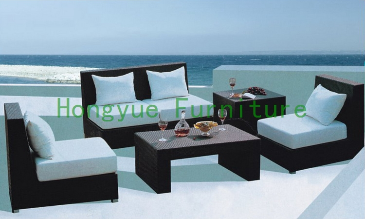 Brown rattan sofa set with cushions living room furniture