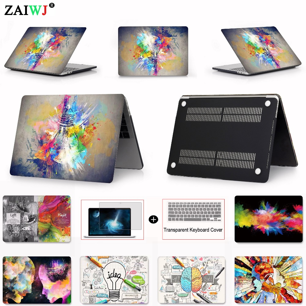 Hot New 2018 ZAIWJ Print Laptop Case For MacBook Air Retina Pro 11 12 13 15 for Mac book 13.3 inch with Touch Bar Keyboard Cover