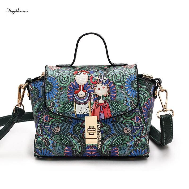 ФОТО Harajuku Female Forest Graffiti Wing Top-handle bags designer small shoulder bag women vintage handbags high quality tote bags