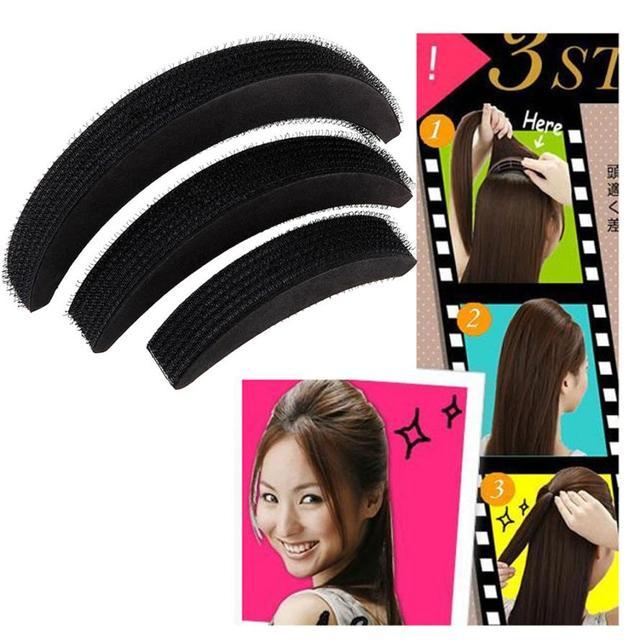 3pcs Hair Volume Increase Puff Sponge Pad Bump Up Insert Base Diy