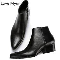 أحذية رجالي خريفي وشتوي جديدة من الجلد الطبيعي بكعب عالي أحذية برقبة مدببة وسحّاب برقبة عالية أحذية للرجال مقاس كبير 36 44